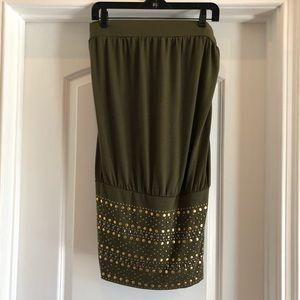 Olive green studded dress